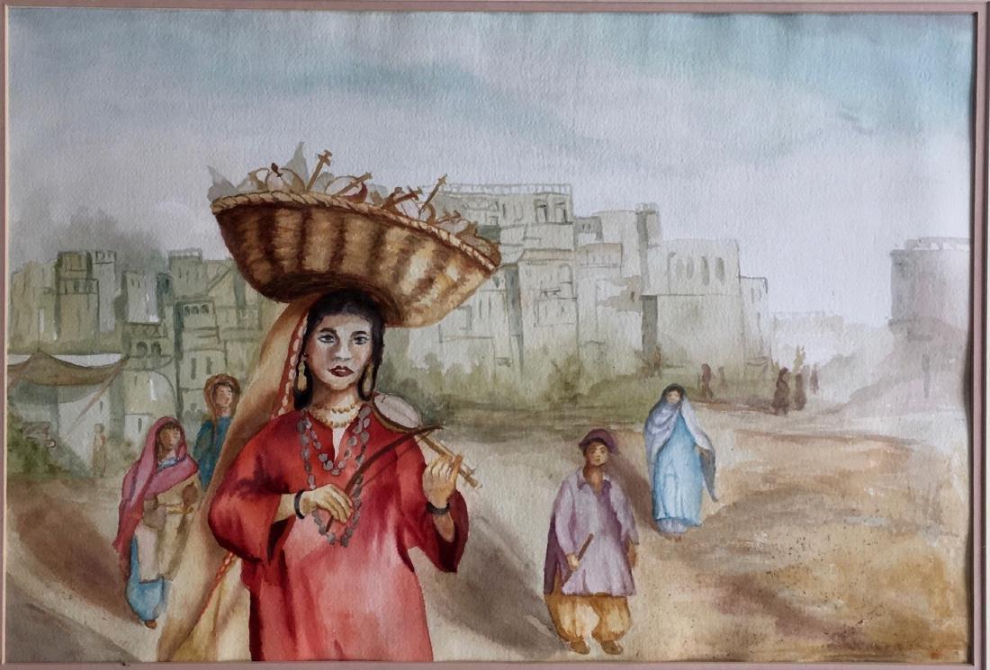 Iranian Oil Painting Music Merchant Najimeh Shirazi