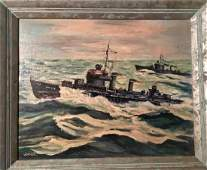 American Military Folk Art Oil Painting, Signed 1963
