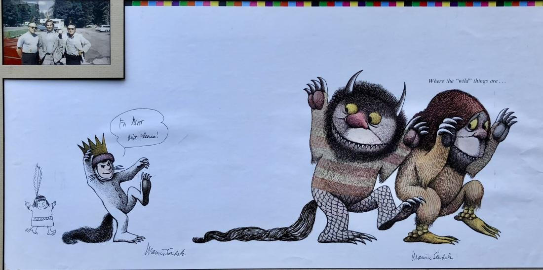 Sendak Drawing on Wild Things Proof Sheet W/ Photograph - 2