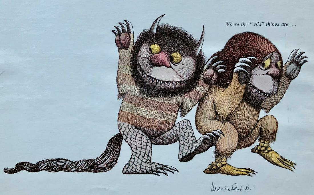 Sendak Drawing on Wild Things Proof Sheet W/ Photograph - 5