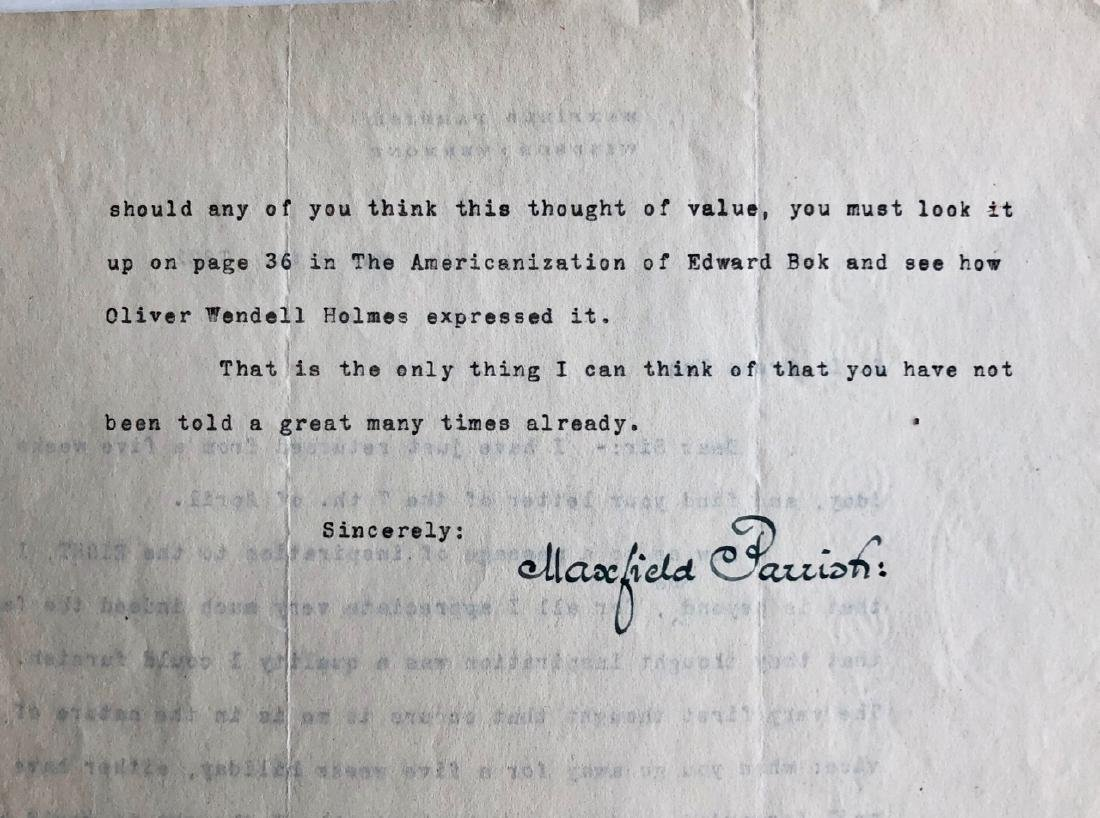 Maxfield Parrish Original Hand-Signed Letter, 1922