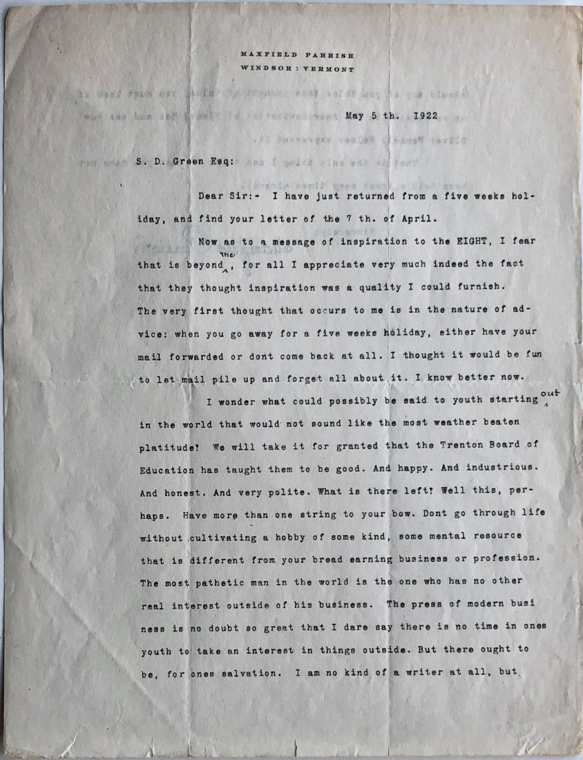 Maxfield Parrish Original Hand-Signed Letter, 1922 - 2
