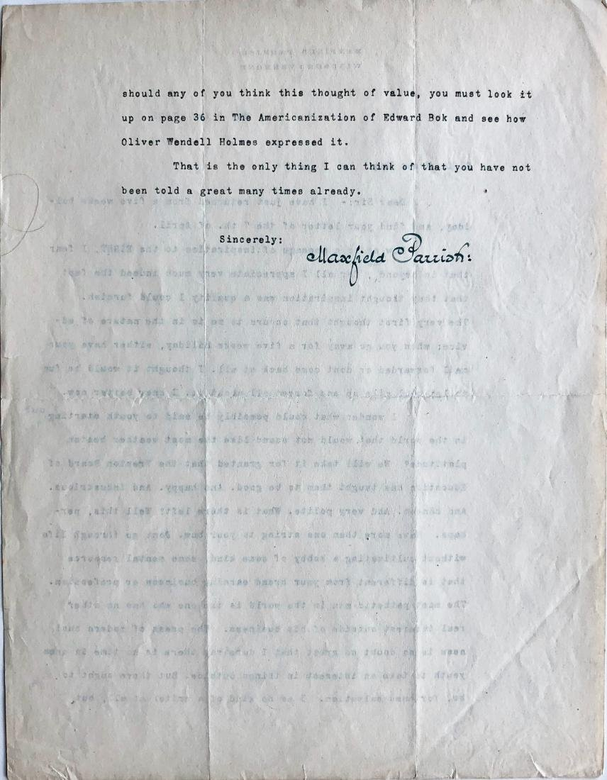 Maxfield Parrish Original Hand-Signed Letter, 1922 - 3