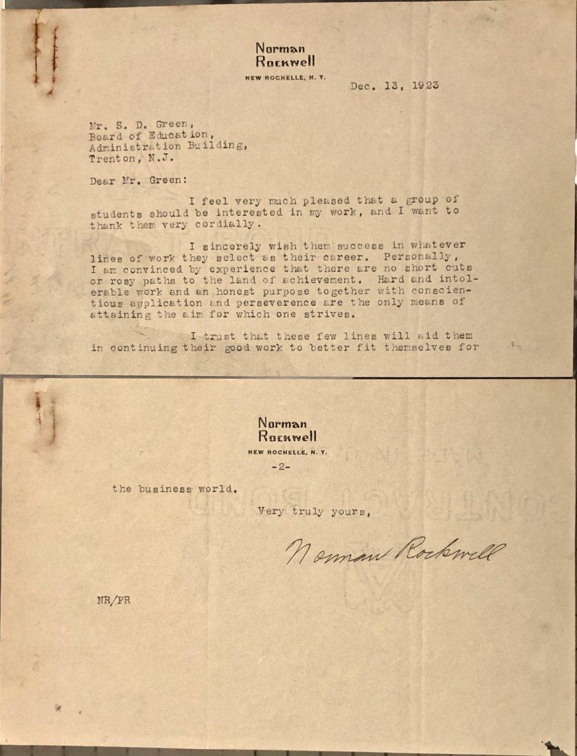 Norman Rockwell Original Hand-Signed Letter 1923