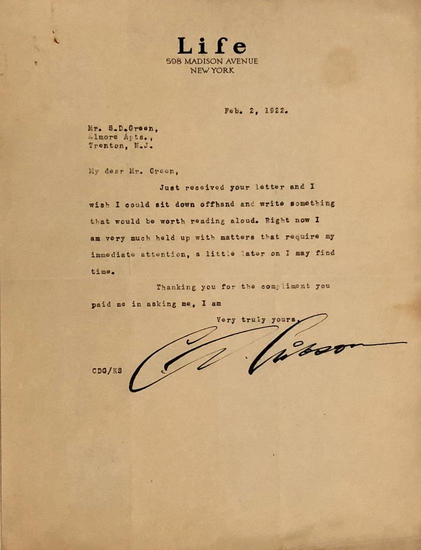 Charles Dana Gibson Hand-Signed Letters, 1922 - 4