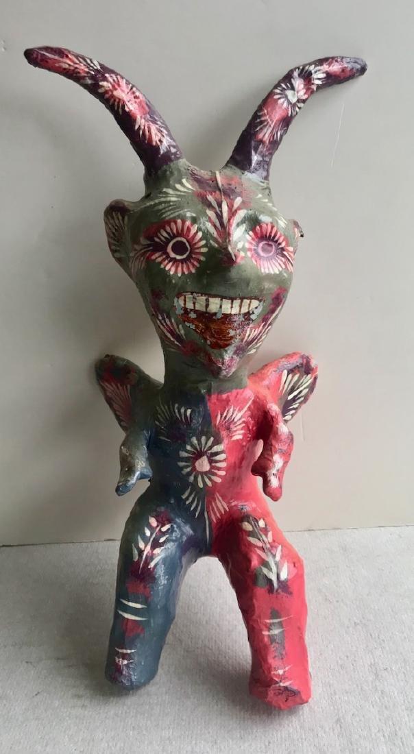 Mexican Folk Art Papier Mache Devil Figure