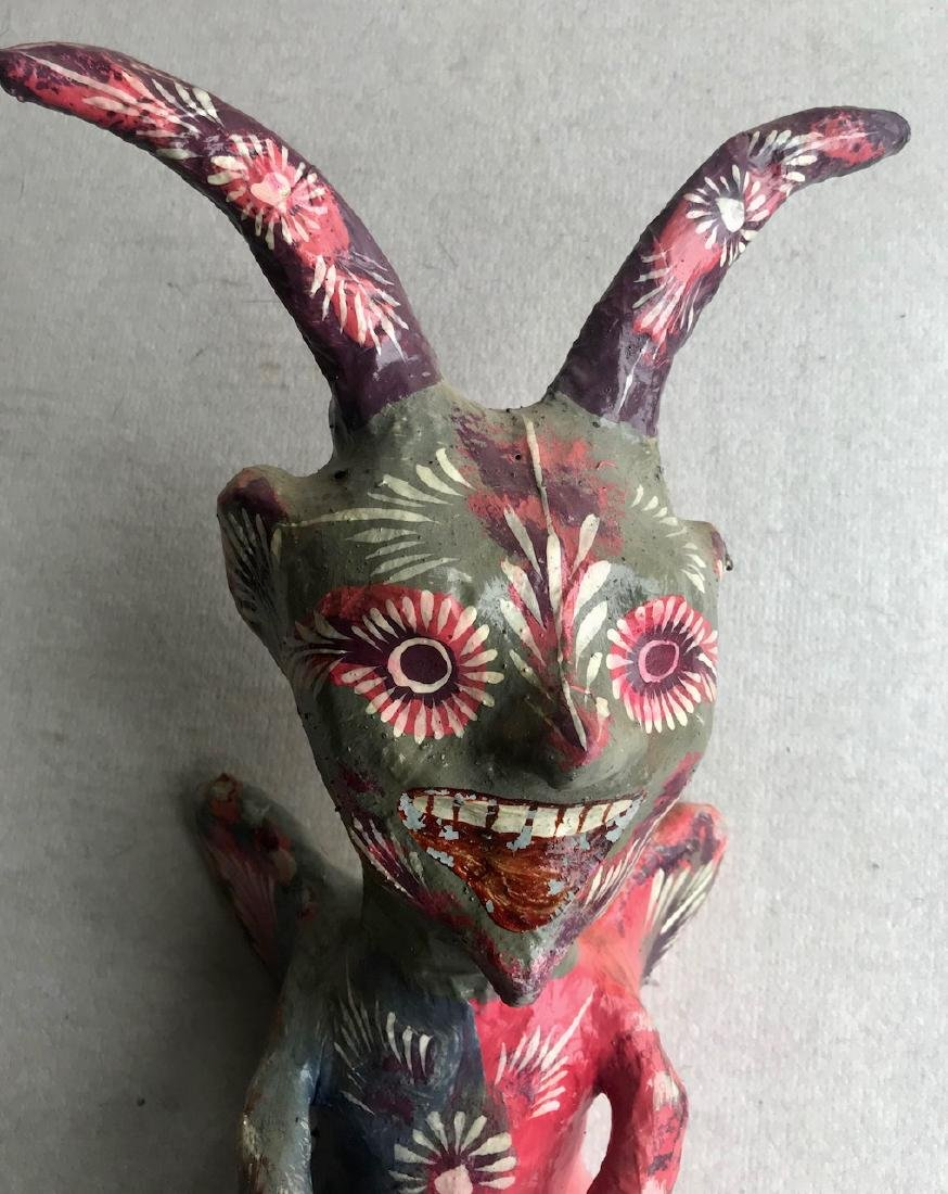 Mexican Folk Art Papier Mache Devil Figure - 3