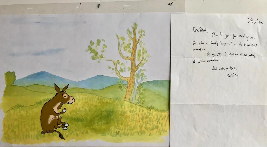 Bill Steig SYLVESTER Original Animation Cell & Letter