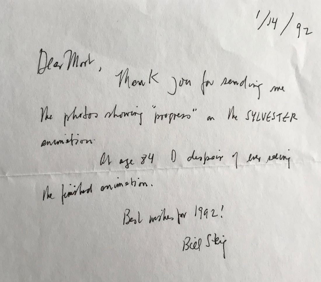 Bill Steig SYLVESTER Original Animation Cell & Letter - 3