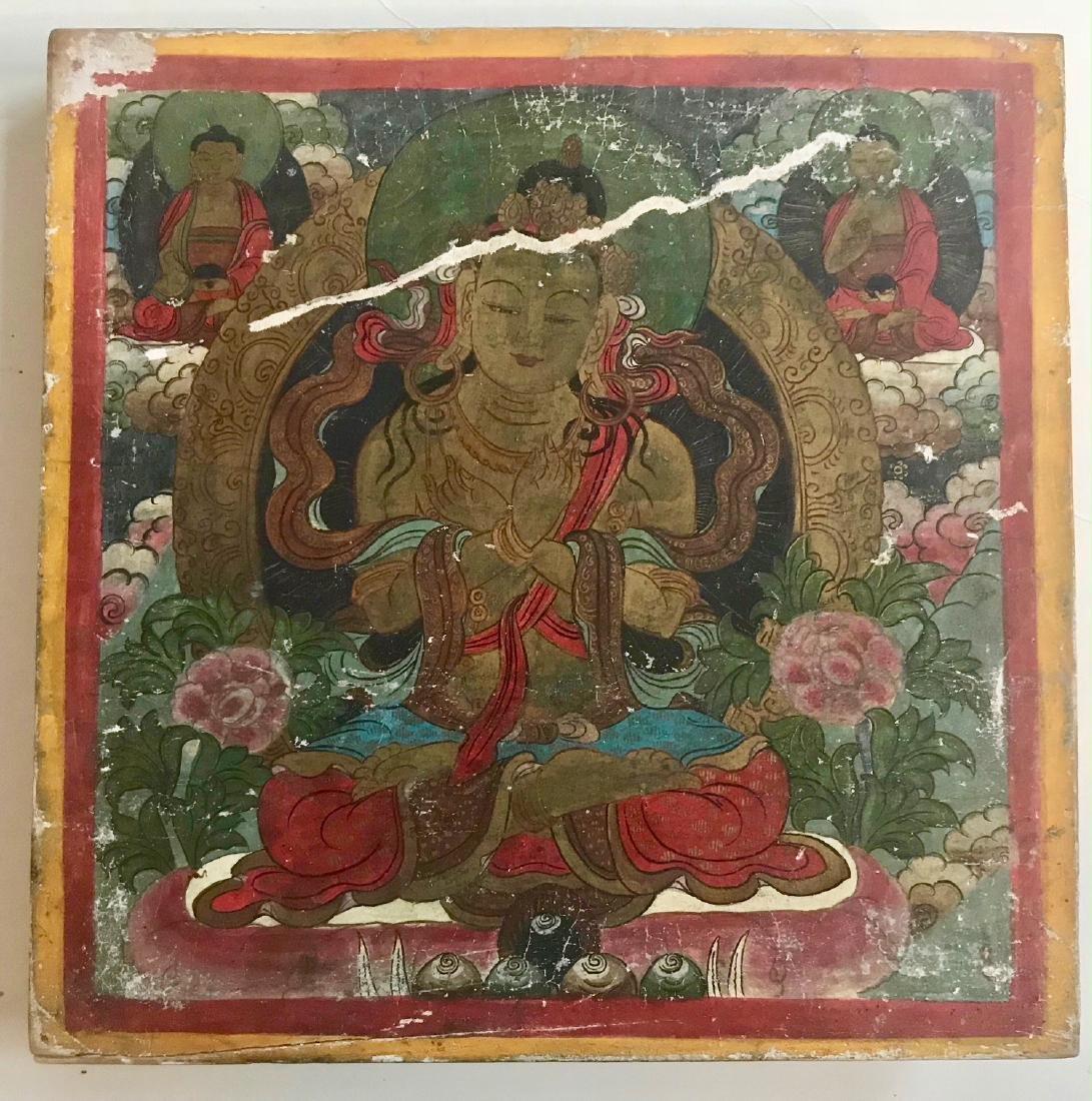 Buddhist Painted Deity Vajradhara on Wood Panel, Tibet