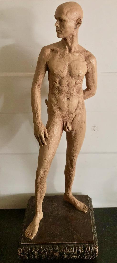 "Mid-Century Male Nude Sculpture Signed 24"" x 8"""