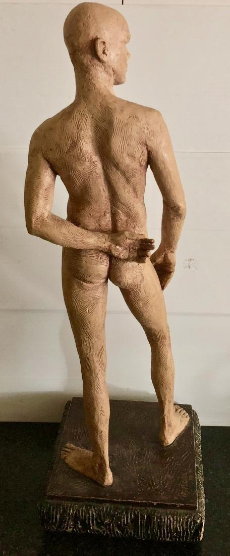 "Mid-Century Male Nude Sculpture Signed 24"" x 8"" - 3"