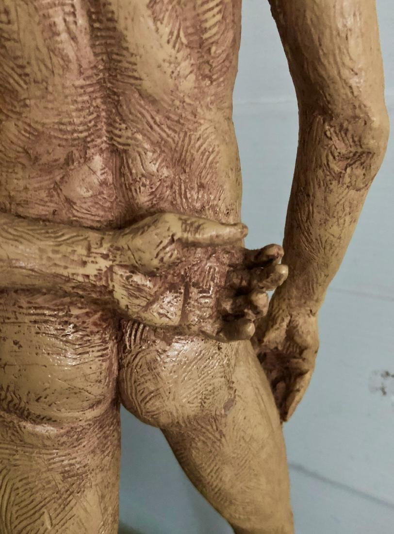 "Mid-Century Male Nude Sculpture Signed 24"" x 8"" - 5"