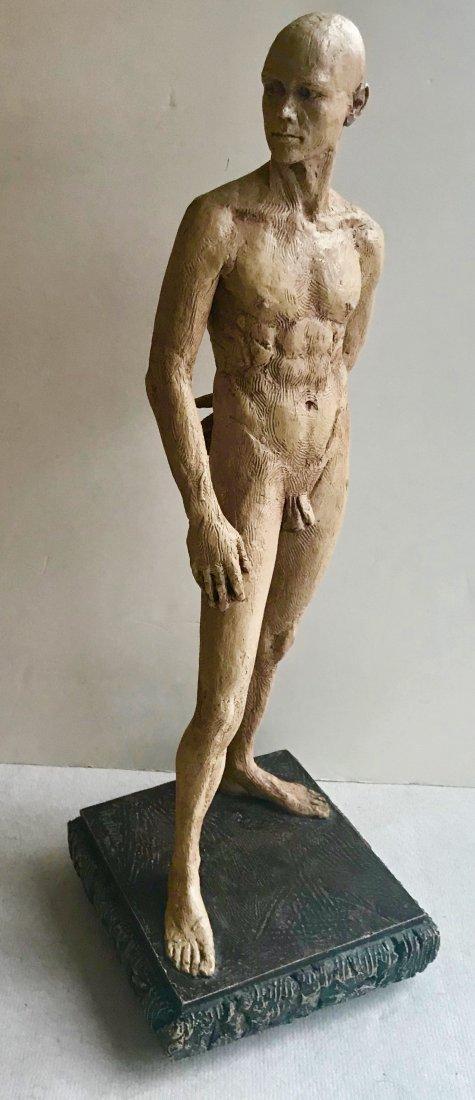 "Mid-Century Male Nude Sculpture Signed 24"" x 8"" - 7"