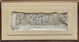Early Handwritten Manuscript Leaf On Parchment