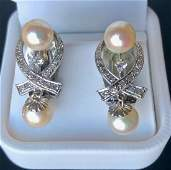 Antique 14k Gold Diamond  Pearl Drop Earrings