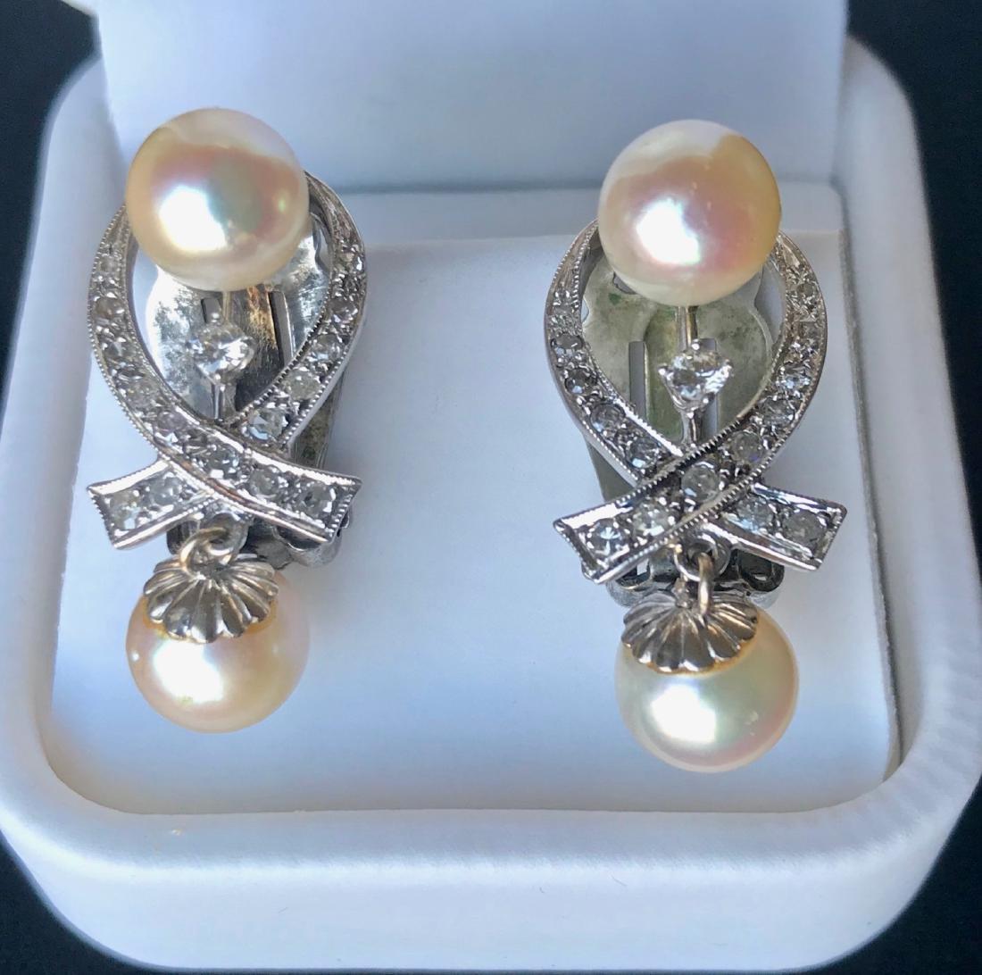 Antique 14k Gold Diamond & Pearl Drop Earrings