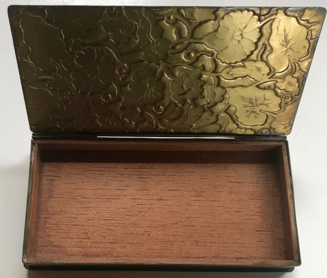 Chinese Engraved Floral Brass Box With Jade Pendant - 4