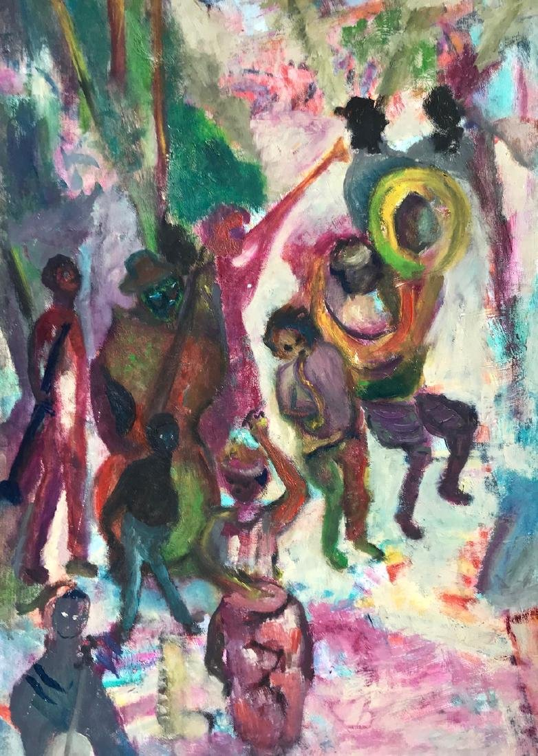 African American Urban Jazz Band Painting