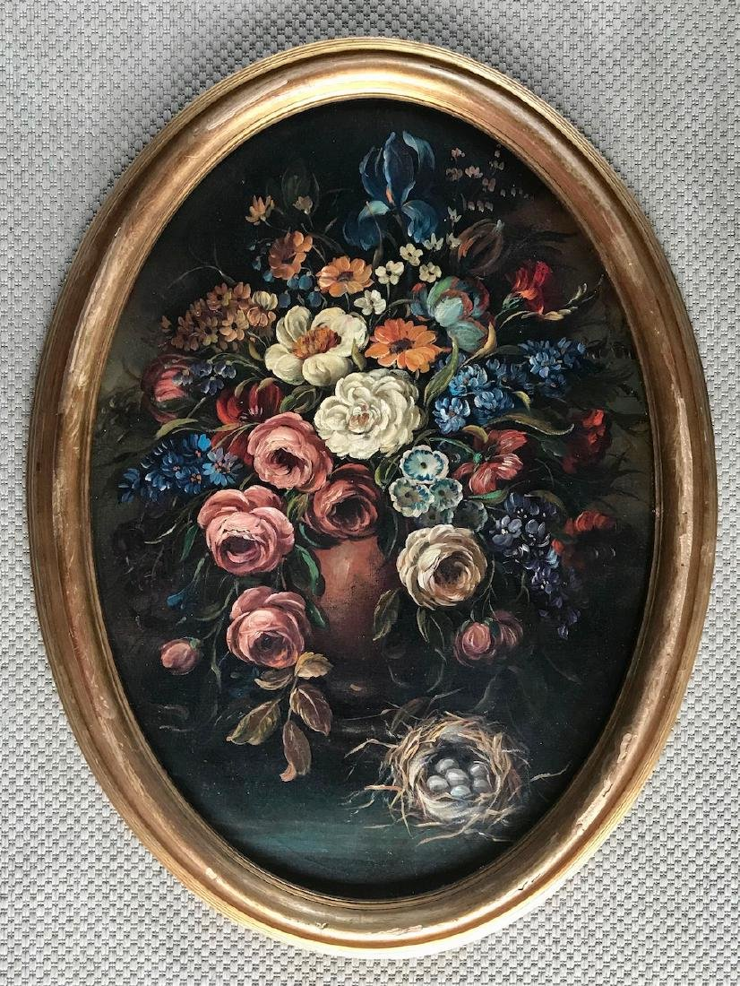 Floral Still Life Painting With Bird's Nest