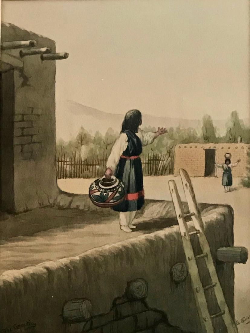 Native American Santa Fe Painting George Stanley - 3
