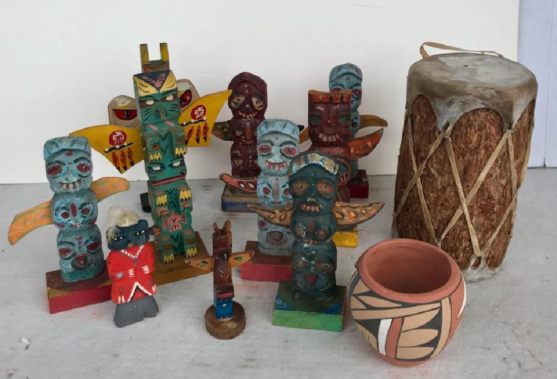 Native American Totem Carvings, Signed Pottery & Drum - 2