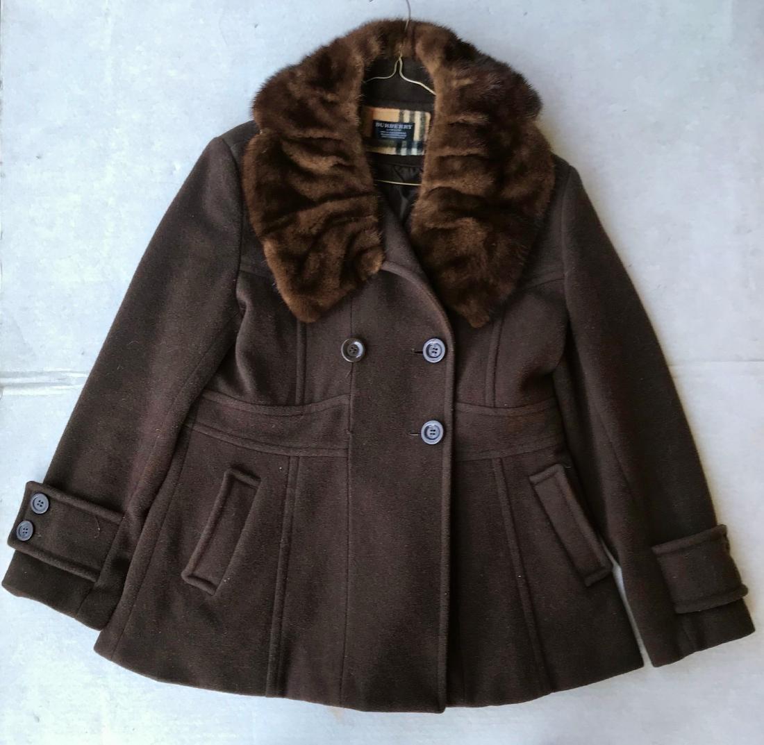 Vintage Burberry Cashmere Coat W/ Fur Collar, London