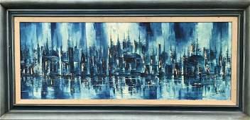 Modern Abstract Cityscape Painting, C. Lasari