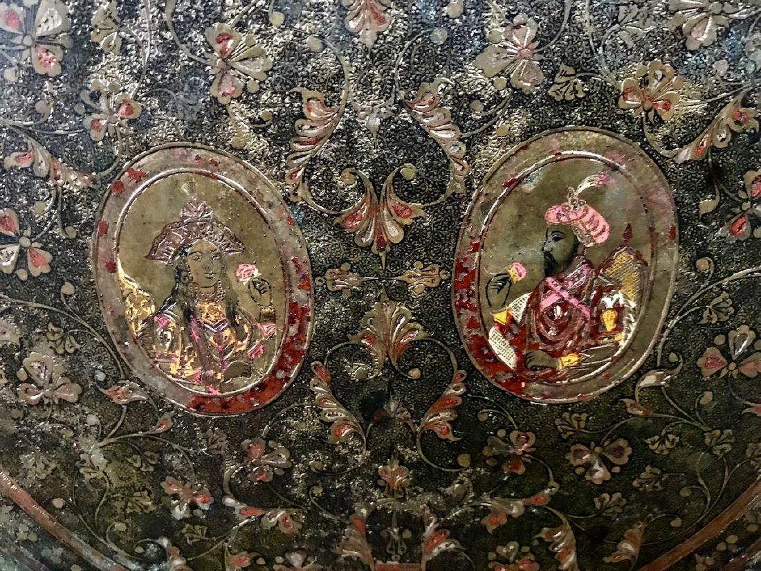 Anglo-Indian Mughal Enamel Royal Portrait Tray Charger - 2