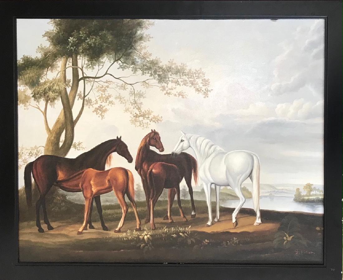 Riverview Landscape Painting With Horses,  A. Vollon