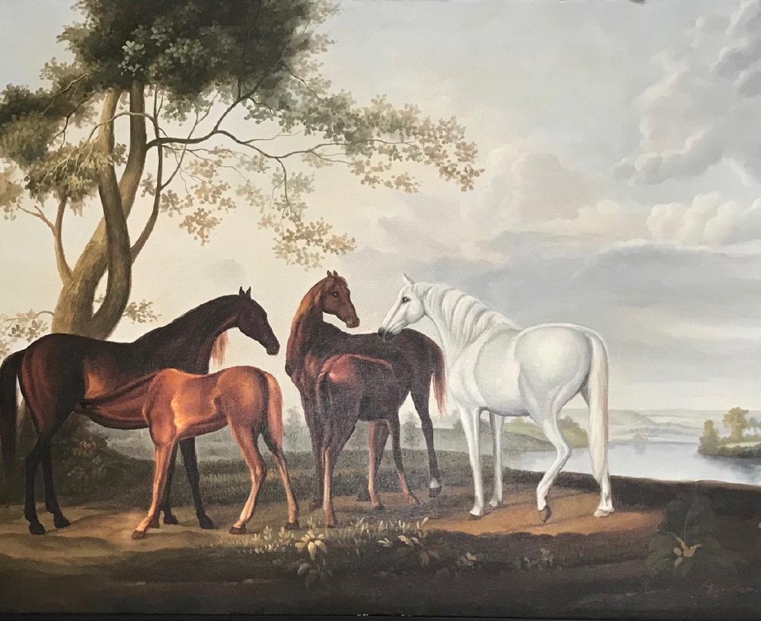 Riverview Landscape Painting With Horses,  A. Vollon - 3