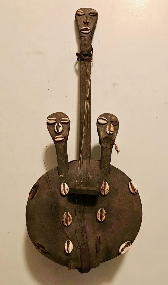African Folk Art Instrument W/ Ancestral Carvings KORA