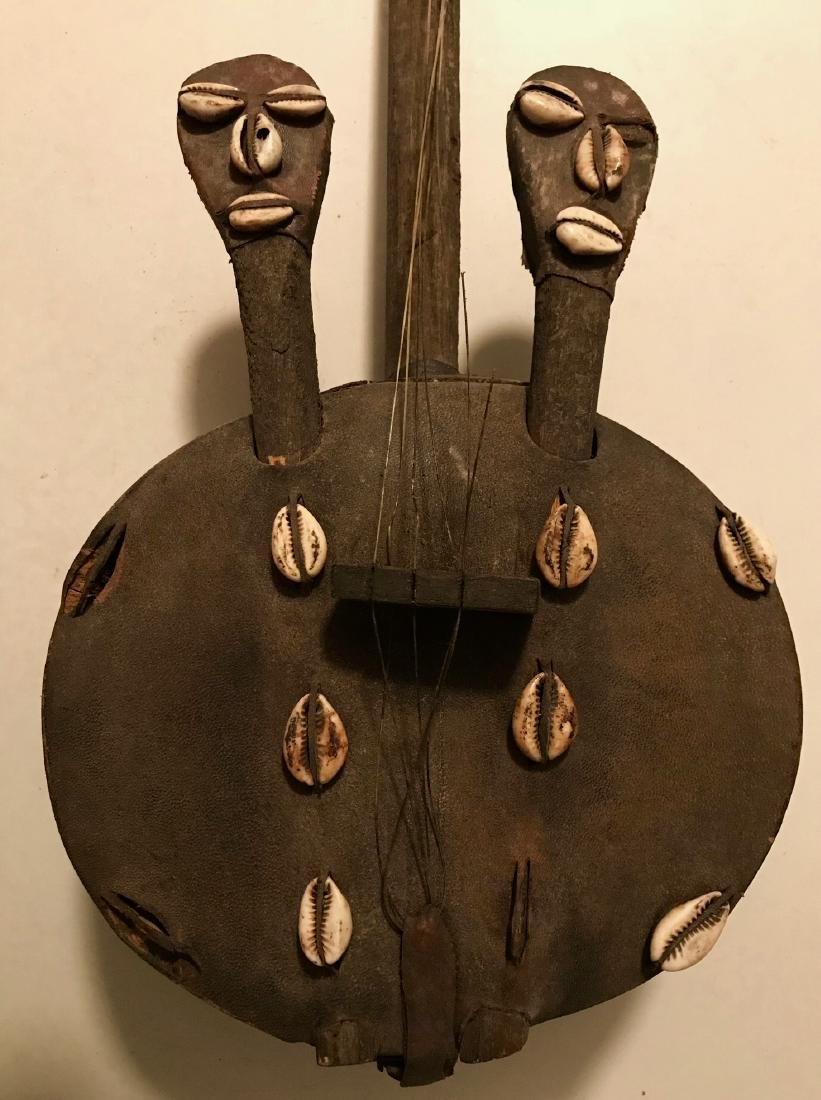 African Folk Art Instrument W/ Ancestral Carvings KORA - 5