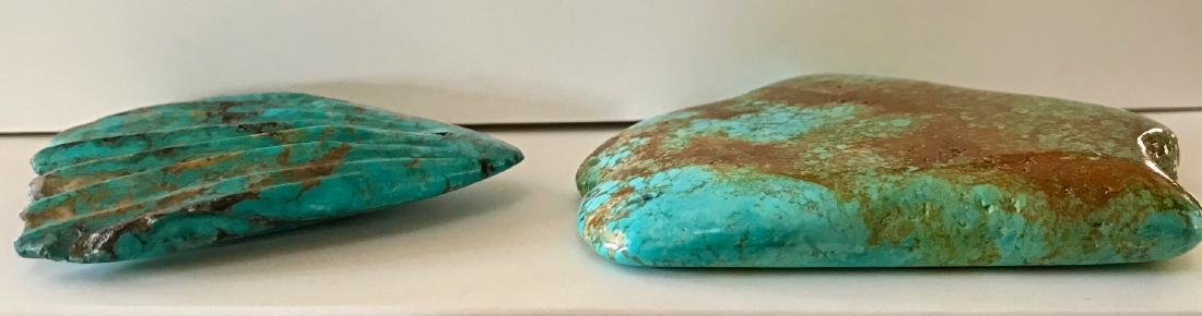 Two Large Natural Turquoise Specimen Stones - 5