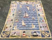 """American Folk Art Nautical Hooked Rug 7'.22"""" x 4'.9"""""""