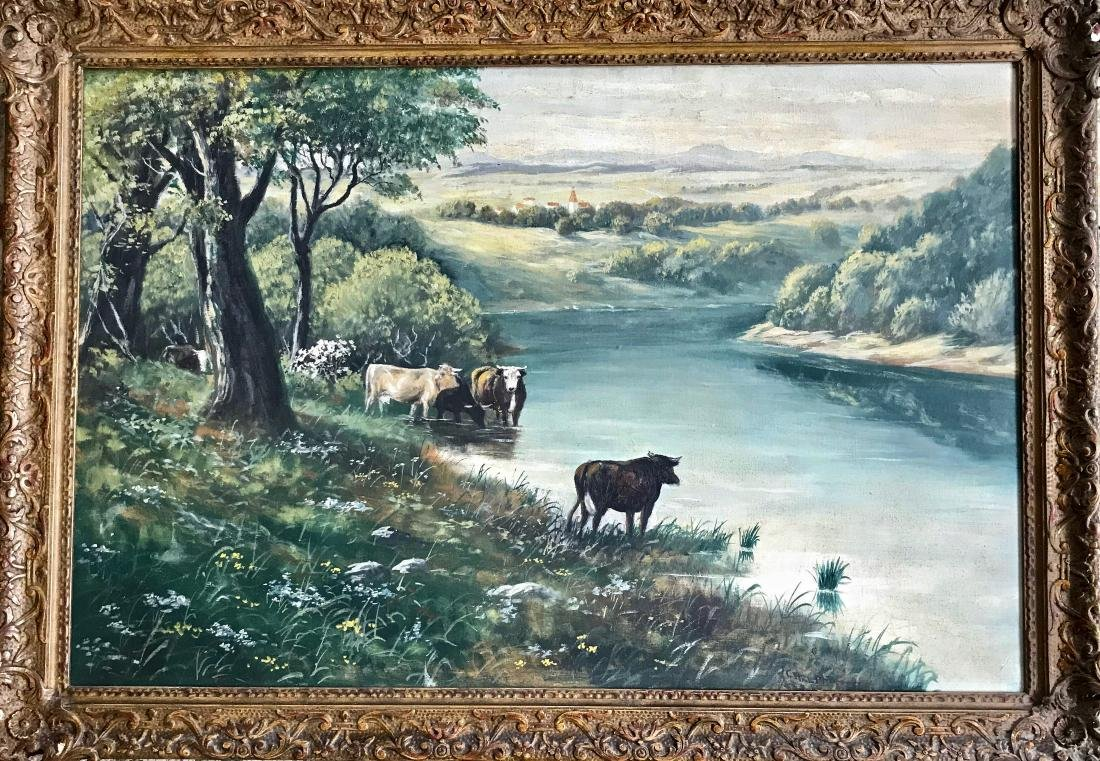 American River Landscape Painting With Cows, Carl Mutze