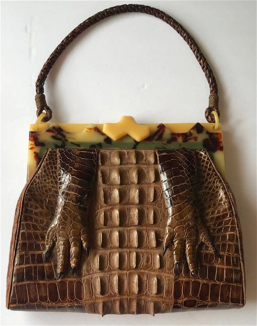 91f58a6b958 Vintage Alligator Bakelite Handbag Clutch Purse. placeholder. See Sold Price