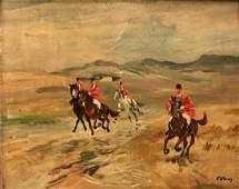 English Landscape FOX HUNT Painting 19th Century