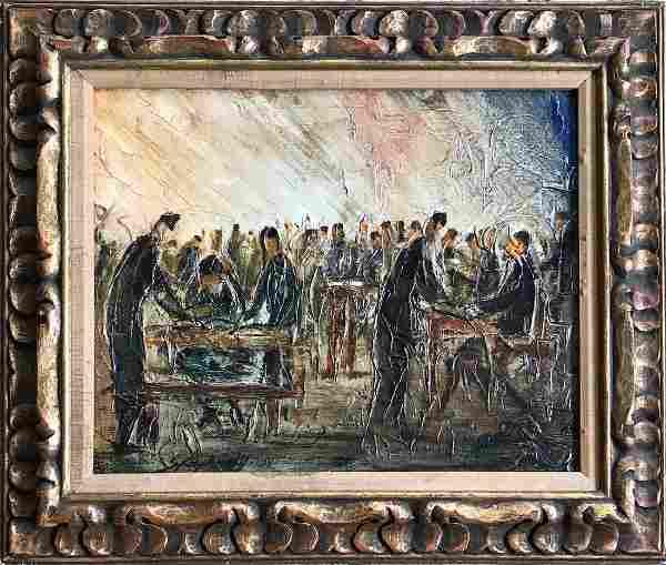 Israeli Oil Painting YESHIVA STUDENTS Zvi Raphaeli