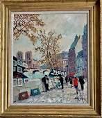 Paris Seine River Art Scene Painting Bessie 1950s