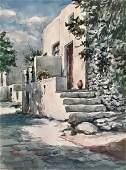 Mykonos Watercolor Village Street Scene Signed