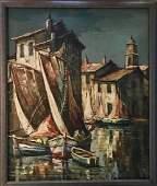 Coastal Village Harbor Oil Painting Signed 1950s