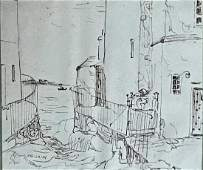 Scottish Drawing PITTENWEEM HARBOR  JHLaing 1955