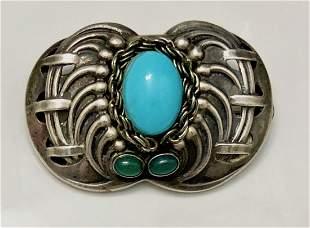 Georg Jensen Sterling Silver Turquoise Brooch
