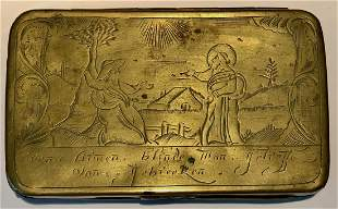 Dutch Tobacco Box Inscribed & Engraved, 18th Century