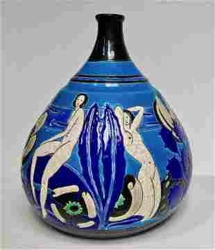 Atelier Primavera Longwy BAIGNEUSES Art Deco Vase 1930s