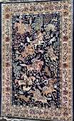 Persian Pictorial Hand Woven Hunting Rug  66x 46