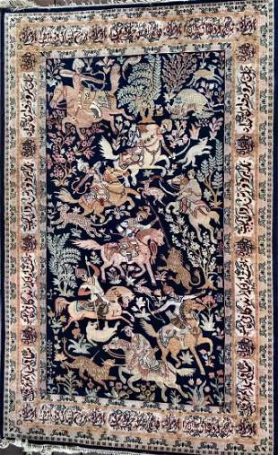 """Persian Pictorial Hand Woven Hunting Rug  6'6""""x 4'6"""""""