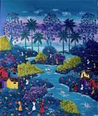 Haitian Fantastique Landscape Painting, Signed
