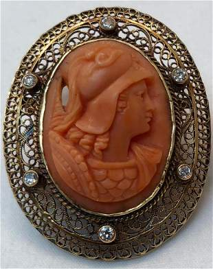 Victorian 14k Gold Carved Coral Brooch With Diamonds